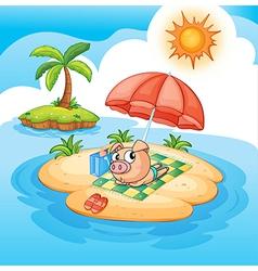 Cartoon pig sunbathing vector