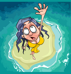 cartoon scared woman falls on the islet in the sea vector image