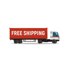 cartoon truck with shipping container isolated vector image