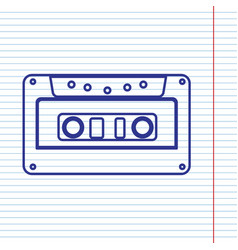 cassette icon audio tape sign navy line vector image
