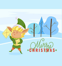 christmas postcard with elf holding letter vector image