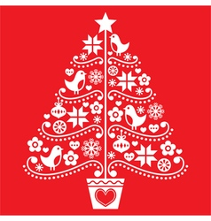 Christmas tree design - folk style with birds vector image