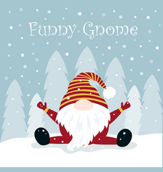 Christmas winter card with funny gnome vector