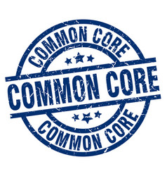 common core blue round grunge stamp vector image