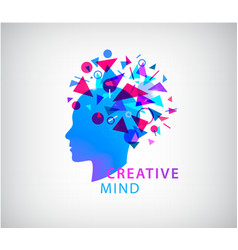 Creative mind human head logo concept vector