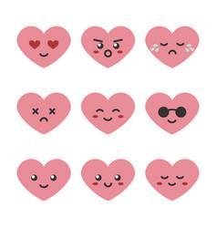 Cute cartoon pink heart character emoji vector