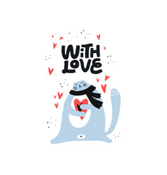 cute cat holding heart color character vector image