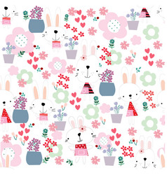 cute funny seamless pattern rabbit bunny girl in vector image