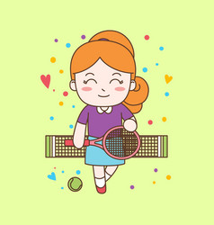 cute girl playing tennis ready for print vector image