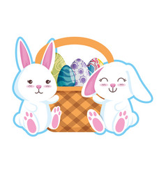 cute rabbits couple with easter egg painted in vector image