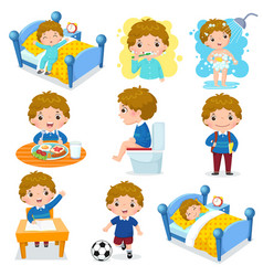 Daily routine activities for kids with cute boy vector