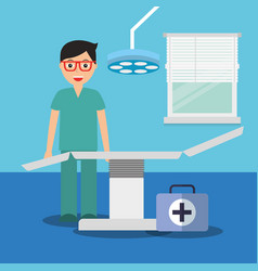 doctor with suitcase medical stretcher in vector image