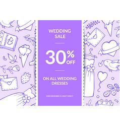 doodle wedding elements sale poster banner vector image