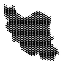 Dot halftone iran map vector
