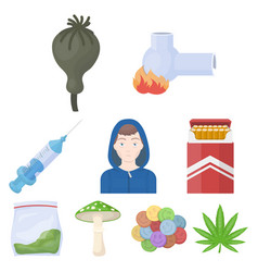 drugs set icons in cartoon style big collection vector image