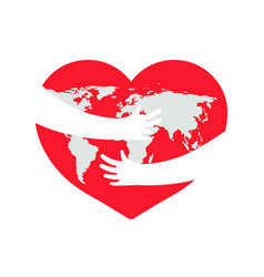 earth in heart save planet hand with love vector image