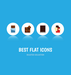 Flat icon cacao set of dessert bitter cocoa and vector