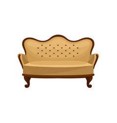 Flat icon of classic vintage couch wooden vector