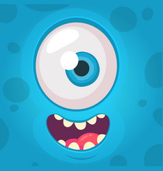 Funny monster one eye face vector