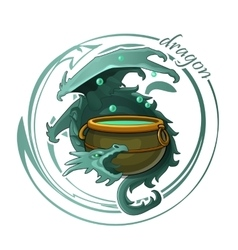 Ghostly dragon guards the cauldron of potion vector