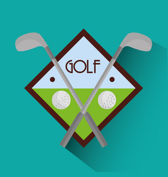 golf clubs cross and balls sport vector image