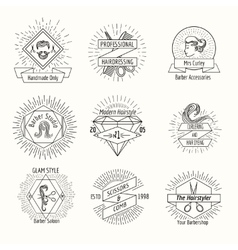 Hairdressing salon logo set in vintage hipster vector image