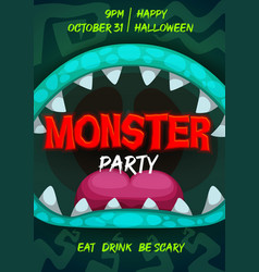 Halloween party flyer with monster mouth vector
