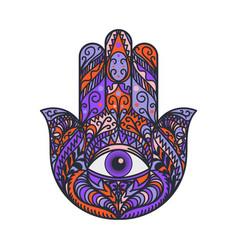 Hamsa fatima hand tradition amulet colored symbol vector