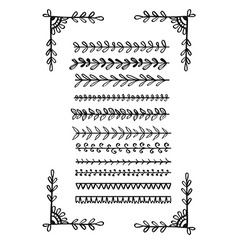 Hand drawn line borders collection vector