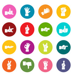 hand gesture icons many colors set vector image