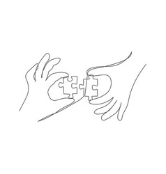 hands with puzzle one line drawing puzzle vector image