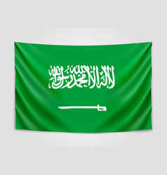 hanging flag of saudi arabia kingdom of saudi vector image