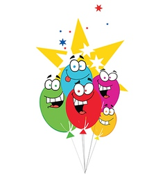 Happy Birthday Baloons With Stars vector