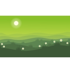 Hill on green background at spring landscape vector