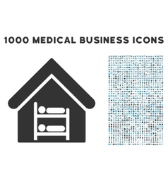 Hostel Icon with 1000 Medical Business Symbols vector image