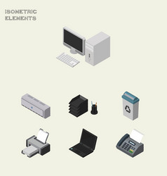 Isometric business set of garbage container vector