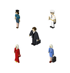 Isometric human set of seaman female policewoman vector