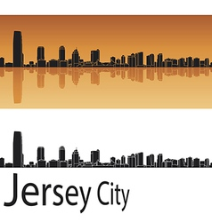 Jersey City skyline in orange background vector image