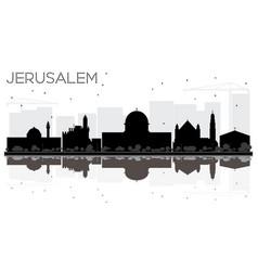 Jerusalem israel city skyline black and white vector