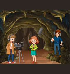 Journalist report from cave vector