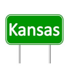 Kansas green road sign vector