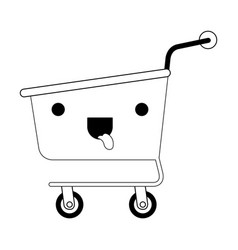 kawaii shopping cart in black silhouette vector image vector image