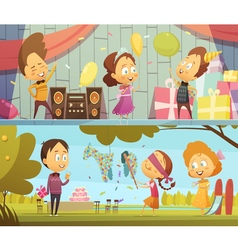 Kids Party Banners vector