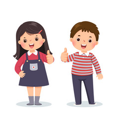 Little boy and girl showing thumbs up vector