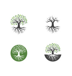logos green tree leaf vector image