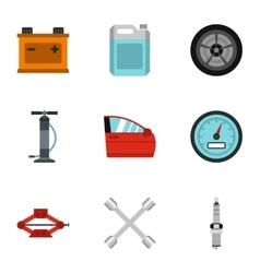 Maintenance car icons set flat style vector