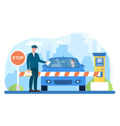 male attendant standing at gate arm with stop sign vector image