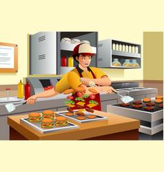 man cooking burgers vector image