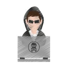 Man hacker icon image vector