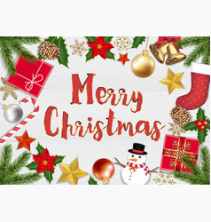 merry chrismast object top view on wood background vector image